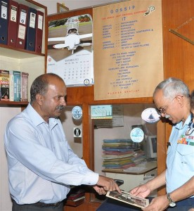 Air Officer Commanding and President of Air Force Selection Board, Mysore, Air Commodore O.P. Tiwari giving instructions and briefing M.N. Subramani ,President, VeKare Ex-servicemen  Trust, Mysore with regard to conducting 'Ex-Servicemen Interaction Meet-2014 and ECHS Membership drive during his recent visit to the Trust's office