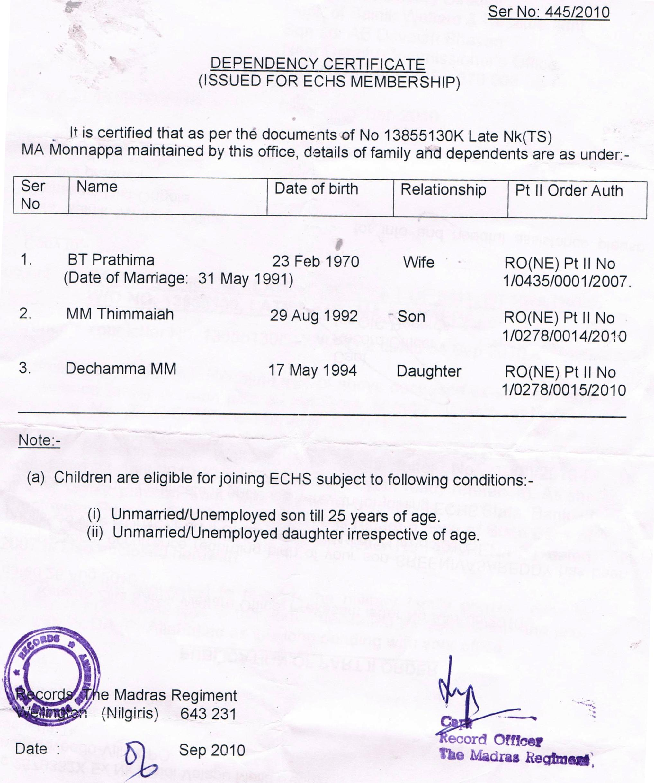 Part-II Order & Dependancy Certificate